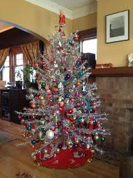 tinsel tree with vintage ornaments shiney brite pinterest