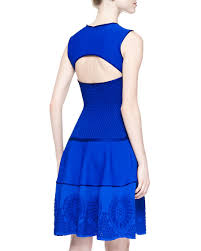 roberto cavalli mesh inset embroidered scuba knit dress blue