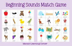 beginning sounds match game mamas learning corner