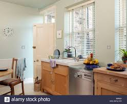 modern light kitchen with back door open and fruit bowl and