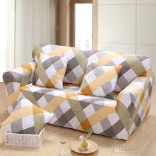 Three Cushion Sofa Slipcovers Geometric Patterns Printed Sofa Cover Tight All Inclusive