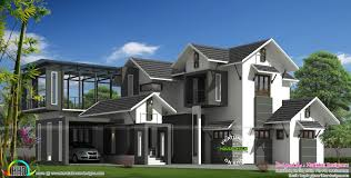 modern sloping roof house with courtyard kerala home design and