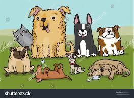 cat with australian shepherd pack cartoon dogs cat hiding background stock vector 561671911