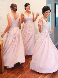 Pink Bridesmaid Dresses Casual A Line V Neck Floor Length Pink Bridesmaid Dress With