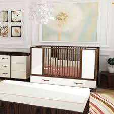 modena morgan crib in white and walnut and nursery necessities in