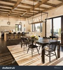 beautiful dining room kitchen new luxury stock photo 639915718 beautiful dining room and kitchen in new luxury home at sunrise house features wood beam