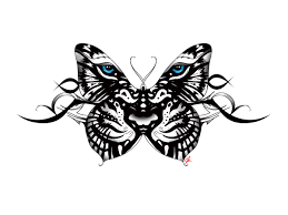 white tiger butterfly with tribal accent back