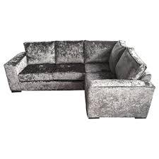 ortrand crushed velvet corner sofa grey fabric l shaped sofa as