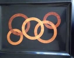 couroc tray inlaid wood rings circles mid century modern serving