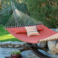 Hammock With Wood Stand Twin Oaks Quilted Sunbrella Fabric Double Hammock With Stand