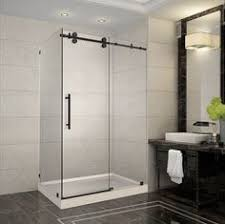 image of a frameless shower door with knee wall return panel and
