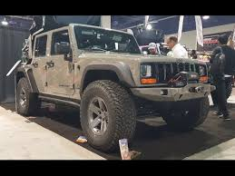 sema jeep yj pathkiller jeep wrangler with a cherokee front end sema 2016 youtube