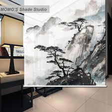 Custom Fabric Roller Shades Fabric Momo Ink Painting Window Curtains Roller Shades Blinds Thermal