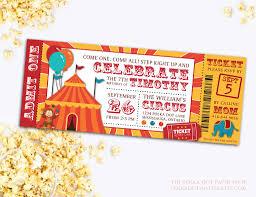circus ticket birthday party invitation baby shower invitation