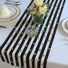black and white table runners cheap white and black striped with gold dots table runner wedding