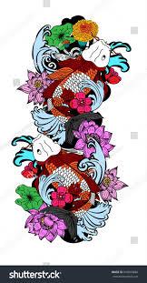 koi carp tattoo images beautiful line art koi carp tattoo stock vector 676683886