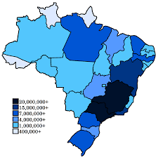 Population Map Of The United States by List Of Brazilian States By Population Wikipedia