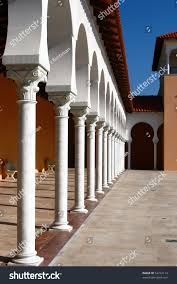 yard covered gallery modern building spanish stock photo 54742114