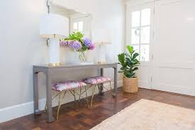 Upholstered Console Table Gray Foyer Table With Pink Stools Transitional Entrance Foyer