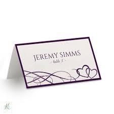 hearts wedding place card template beloved dark plum foldover tent