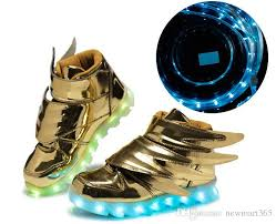 gold light up sneakers wings shoes led light up shoes for kids gold black colorful glowing