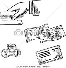 eps vector of payment methods sketch icons set dollar bills and