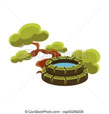 vector clipart of green tree and well bonsai miniature