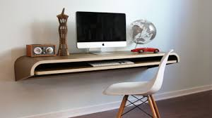table awesome minimalist white tone floating computer desk with