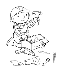 bob the builder preparing tools coloring page for kids kids