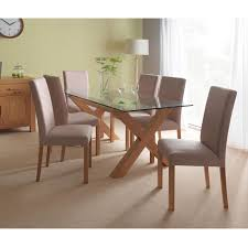 Oak Dining Room Table And 6 Chairs Casa Lyon Glass Table 6 Chair Dining Set Oak Dining Room