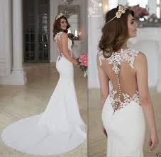 sleeveless wedding dress sheer lace chiffon mermaid wedding dress white ivory 2017