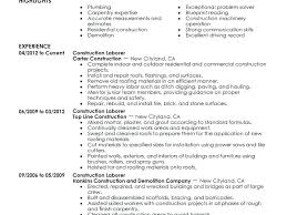 resume construction worker resume experience download laborer