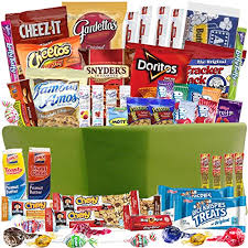 food baskets to send care package gift baskets with 52 sweet and salty snacks for