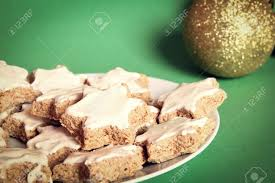 traditional german and swiss christmas cookies arranged on a