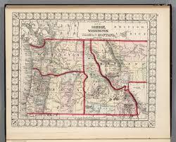 Idaho Montana Map by Map Of Oregon Washington Idaho U0026 Montana David Rumsey