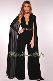formal jumpsuit flowing cape sleeves jumpsuit