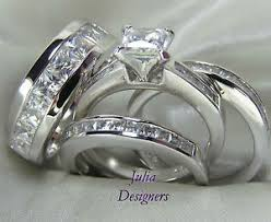his and hers bridal his hers engagement wedding band ring set sterling silver mens