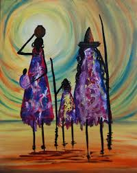 tribal family 10 x 12 abstract vertical acrylic painting on