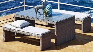 hampton 3 piece outdoor rectangular bench dining setting outdoor