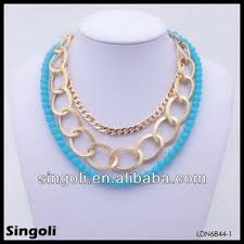necklace designs with beads images Unique sea blue latest design beads necklace statement bib pendant jpg