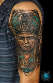 indian native american half sleeve mix color tattoo by andre
