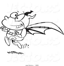 vector of a cartoon running bat boy coloring page outline by