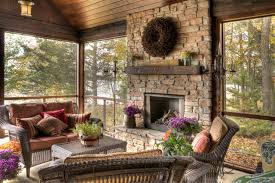rustic fireplace screened porch houzz
