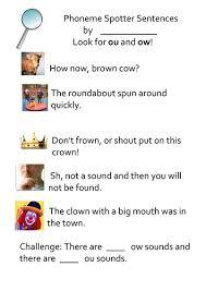 phoneme spotter sentences ou ow by lukeliamlion teaching