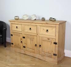 corona mexican waxed solid pine sideboard 3 drawers u0026 3 doors