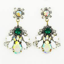 sparkly green earrings celeste drops white and green statement earrings