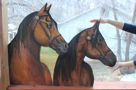 wood horse cutout mural wall decor original oil painting of zoom