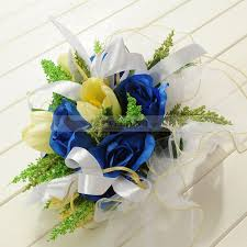 wedding flowers royal blue trimmed organza wrapped royal blue and yellow tulip wedding