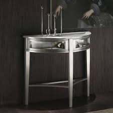furniture silver painted wood entry console table with steel art