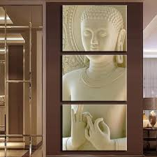 modern buddha painting 3 picture home decoration white marble